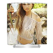 Woman On Hawaiian Beach Shower Curtain by Kicka Witte