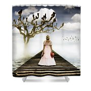 Woman On Pier Shower Curtain