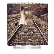 Woman On Railway Line Shower Curtain