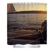 Woman On Sailboat Sunset Shower Curtain