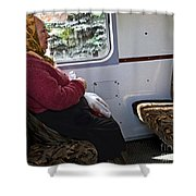 Woman On Train - Budapest Shower Curtain