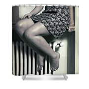 Woman On Window Sill Shower Curtain