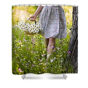 Woman Picking Flowers In A Wild Flower Meadow Shower Curtain