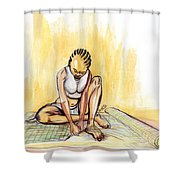 Woman Plaiting Mats In Rwanda Shower Curtain
