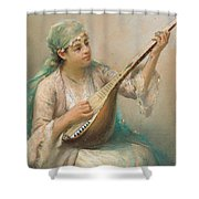 Woman Playing A String Instrument Shower Curtain