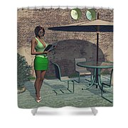 Woman Reading A Menu At A Street Cafe Shower Curtain