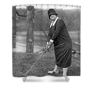 Woman Ready To Play Golf Shower Curtain