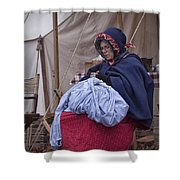 Woman Reenactor Sewing In A Civil War Camp Shower Curtain