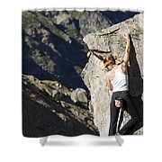 Woman Rock Climbing, India Shower Curtain