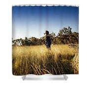 Woman Running Through Field Shower Curtain