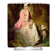 Woman Seated In A Forest Glade Shower Curtain