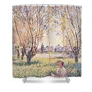 Woman Seated Under The Willows Shower Curtain