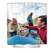 Woman Serving Appetizers, Alsek River Shower Curtain