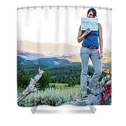Woman Shows Off Her Mountain Drawing Shower Curtain