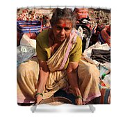 Woman Sifting In A Street Market India Shower Curtain