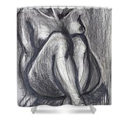 Woman Sitting On Round Chair - Female Nude Shower Curtain