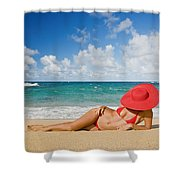 Woman Sitting On The Beach Shower Curtain