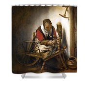 Woman Spinning Shower Curtain