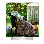 Woman Spinning Wool Shower Curtain