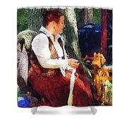 Woman Spinning Yarn At Flea Market Shower Curtain