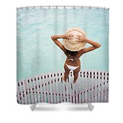 Woman Standing On Dock Shower Curtain