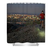 Woman Trail Running In South Mountain Shower Curtain