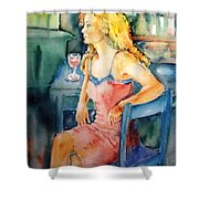 Woman Waiting  Shower Curtain