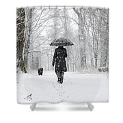 Woman Walking In A Snowy Forest Shower Curtain