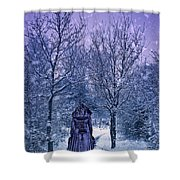 Woman Walking In Snow Shower Curtain by Amanda Elwell