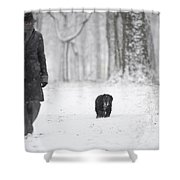 Woman Walking In The Snowy Forest Shower Curtain