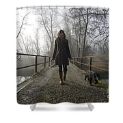 Woman Walking With Her Dog On A Bridge Shower Curtain