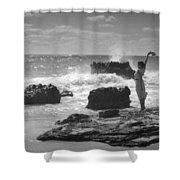 Woman Waving On Shore Shower Curtain