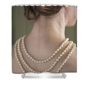 Woman Wearing A Pearl Necklace Shower Curtain