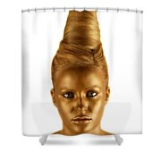 Woman With A Golden Face Shower Curtain by Darren Greenwood