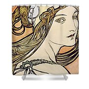 Woman With A Headscarf Shower Curtain
