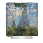 Woman With A Parasol Madame Monet And Her Son  Shower Curtain
