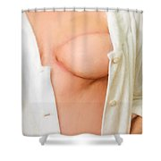 Woman With A Reconstructed Breast  Shower Curtain