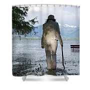 Woman With A Stick Shower Curtain