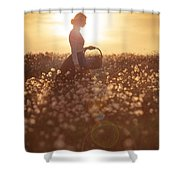 Woman With A Wicker Basket At Sunset Shower Curtain