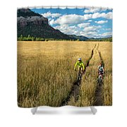 Woman With Daughter Riding Mountain Shower Curtain