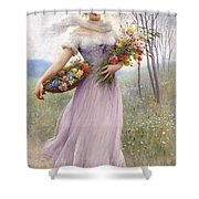 Woman With Flowers Shower Curtain