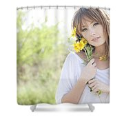 Woman With Flowers Shower Curtain by Brandon Tabiolo