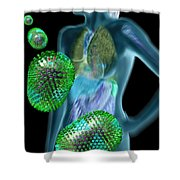 Woman With Flu Viruses Shower Curtain