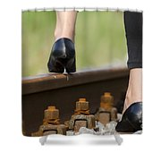 Woman With High Heels Shoes Shower Curtain