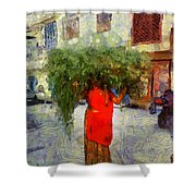 Woman With Ker Leaves India Rajasthan Jaisalmer Shower Curtain