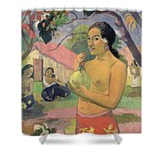Woman With Mango Shower Curtain