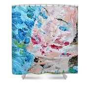 Woman With Necklace - Oil Portrait Shower Curtain