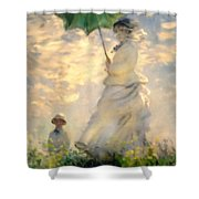 Woman With Parasol Dedication Shower Curtain