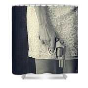 Woman With Revolver Shower Curtain