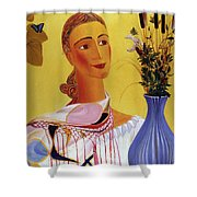 Woman With Shawl Shower Curtain